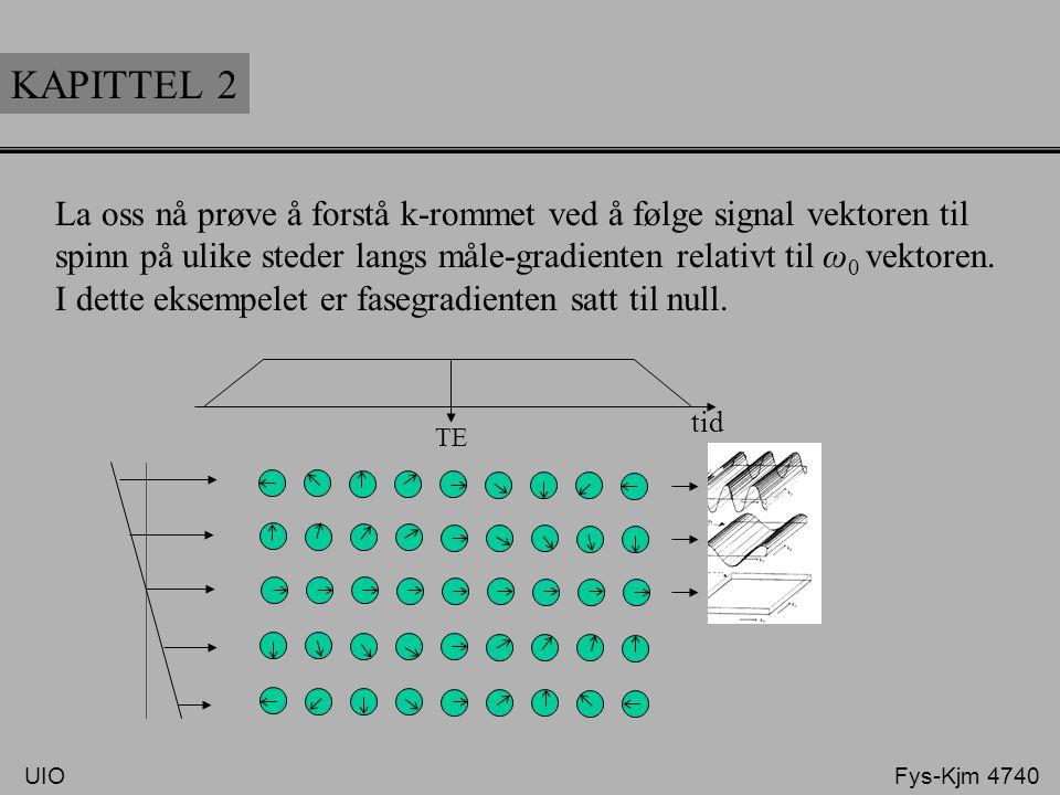 KAPITTEL 2 La oss nå prøve å forstå k-rommet ved å følge signal vektoren til. spinn på ulike steder langs måle-gradienten relativt til ω0 vektoren.