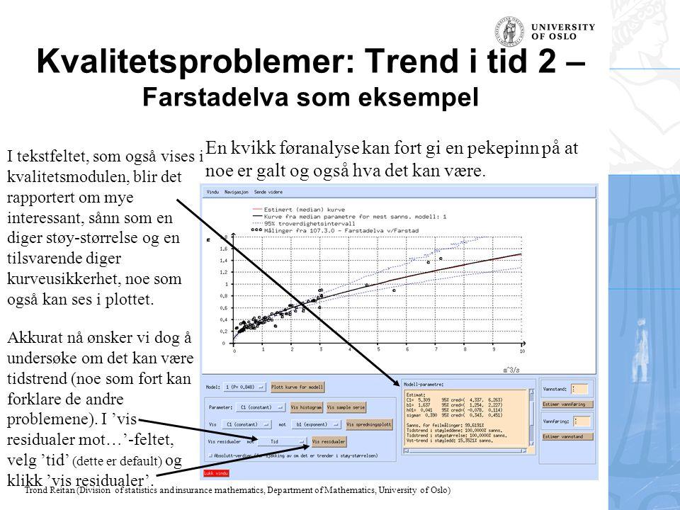 Kvalitetsproblemer: Trend i tid 2 – Farstadelva som eksempel