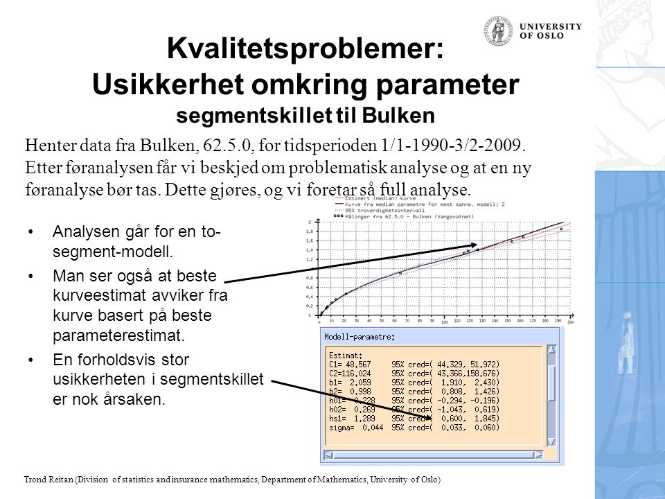 Kvalitetsproblemer: Usikkerhet omkring parameter segmentskillet til Bulken