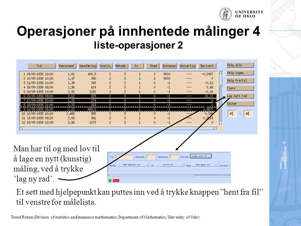 Operasjoner på innhentede målinger 4 liste-operasjoner 2