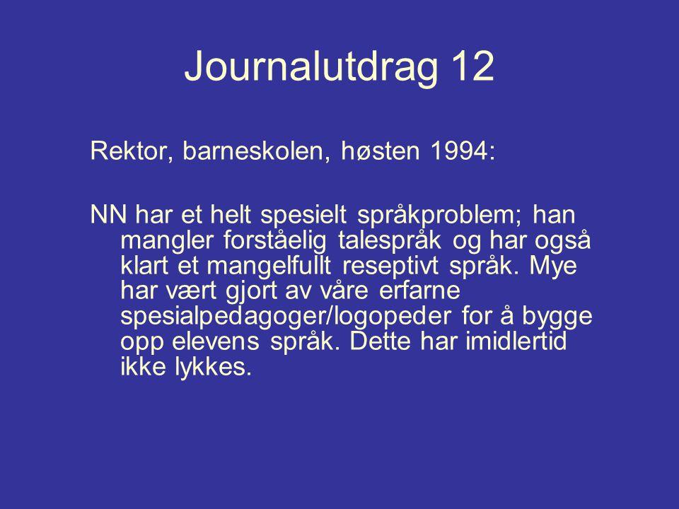 Journalutdrag 12 Rektor, barneskolen, høsten 1994: