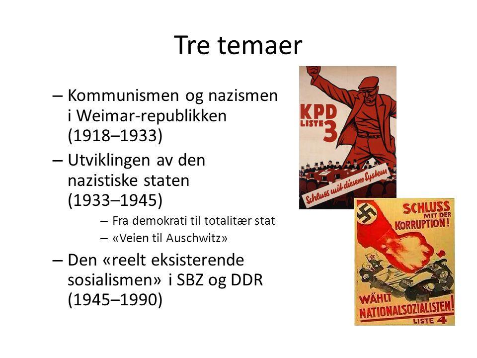Tre temaer Kommunismen og nazismen i Weimar-republikken (1918–1933)