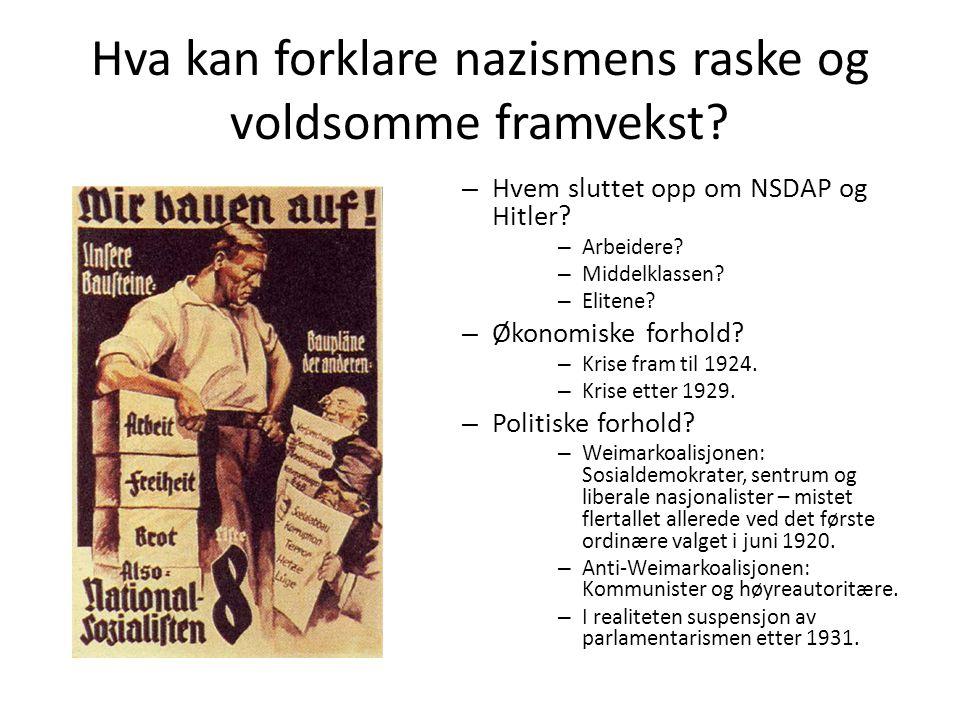 Hva kan forklare nazismens raske og voldsomme framvekst
