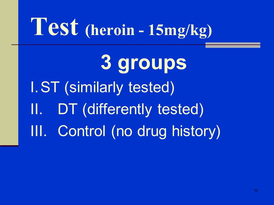 Test (heroin - 15mg/kg) 3 groups I. ST (similarly tested)