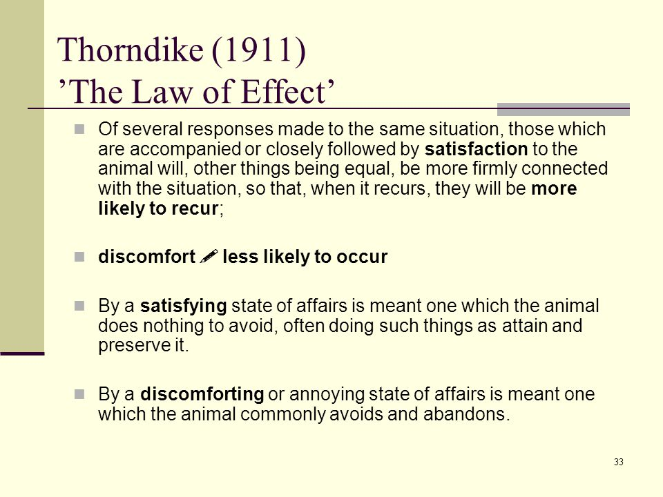 Thorndike (1911) 'The Law of Effect'