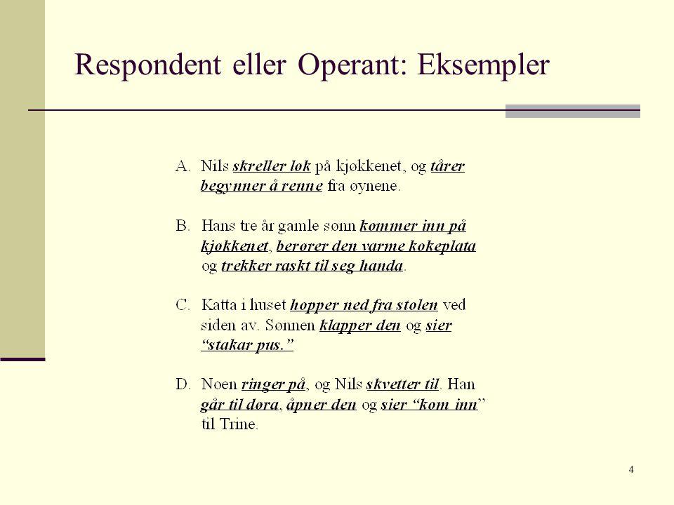 Respondent eller Operant: Eksempler