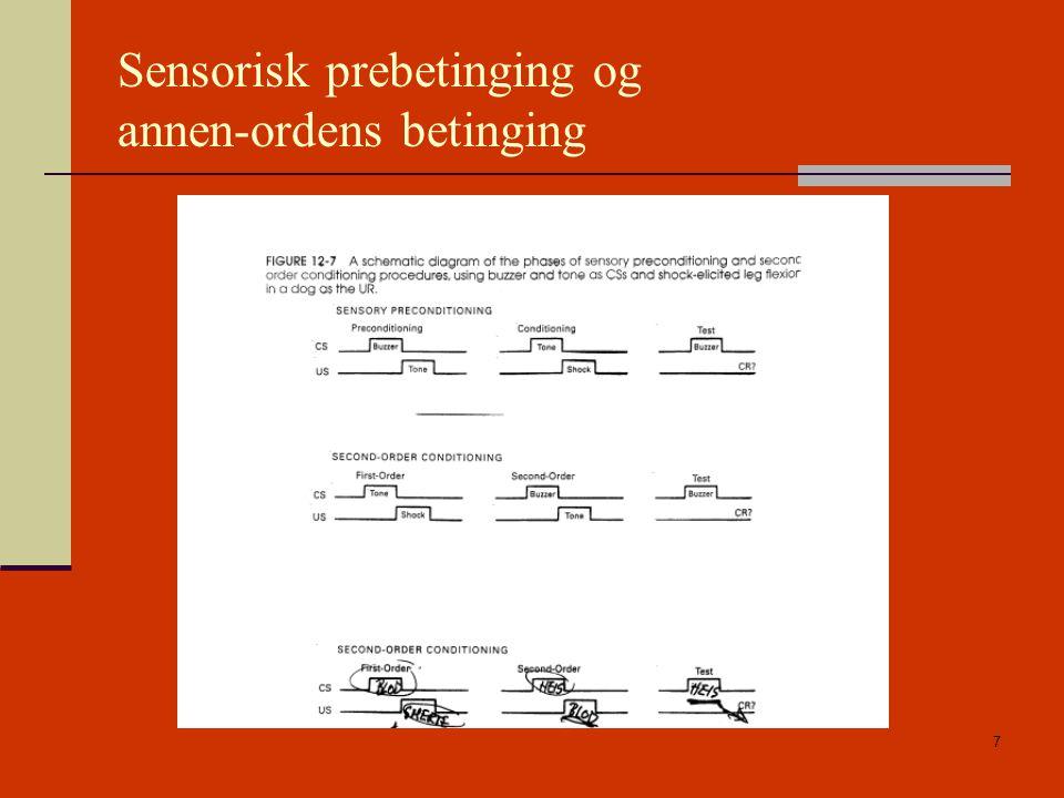 Sensorisk prebetinging og annen-ordens betinging