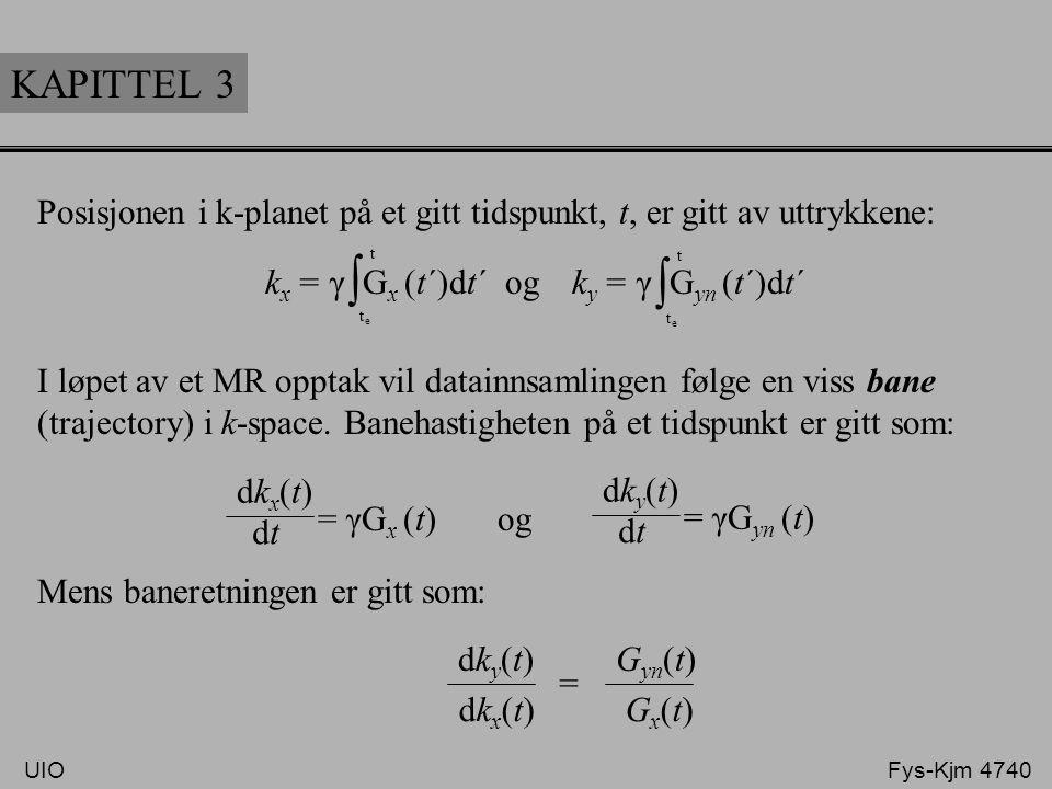 KAPITTEL 3 Posisjonen i k-planet på et gitt tidspunkt, t, er gitt av uttrykkene: I løpet av et MR opptak vil datainnsamlingen følge en viss bane.