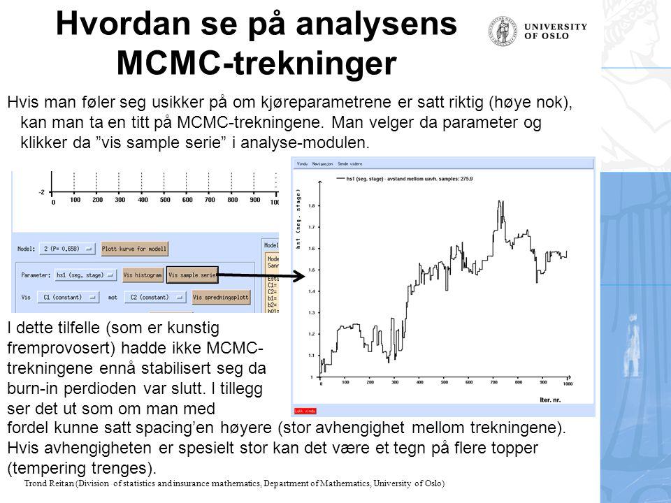 Hvordan se på analysens MCMC-trekninger