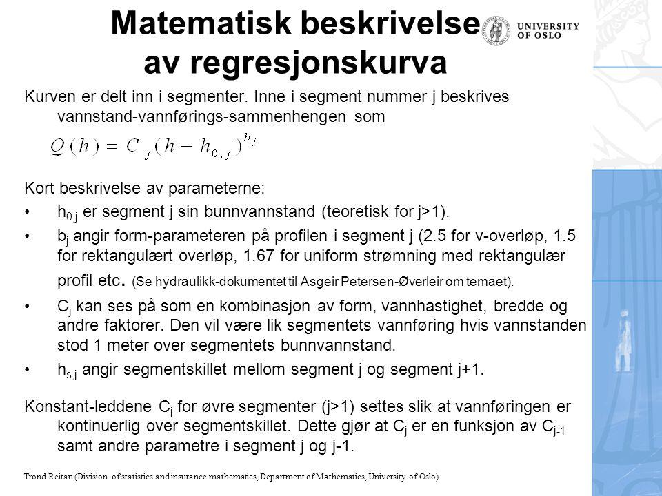 Matematisk beskrivelse av regresjonskurva