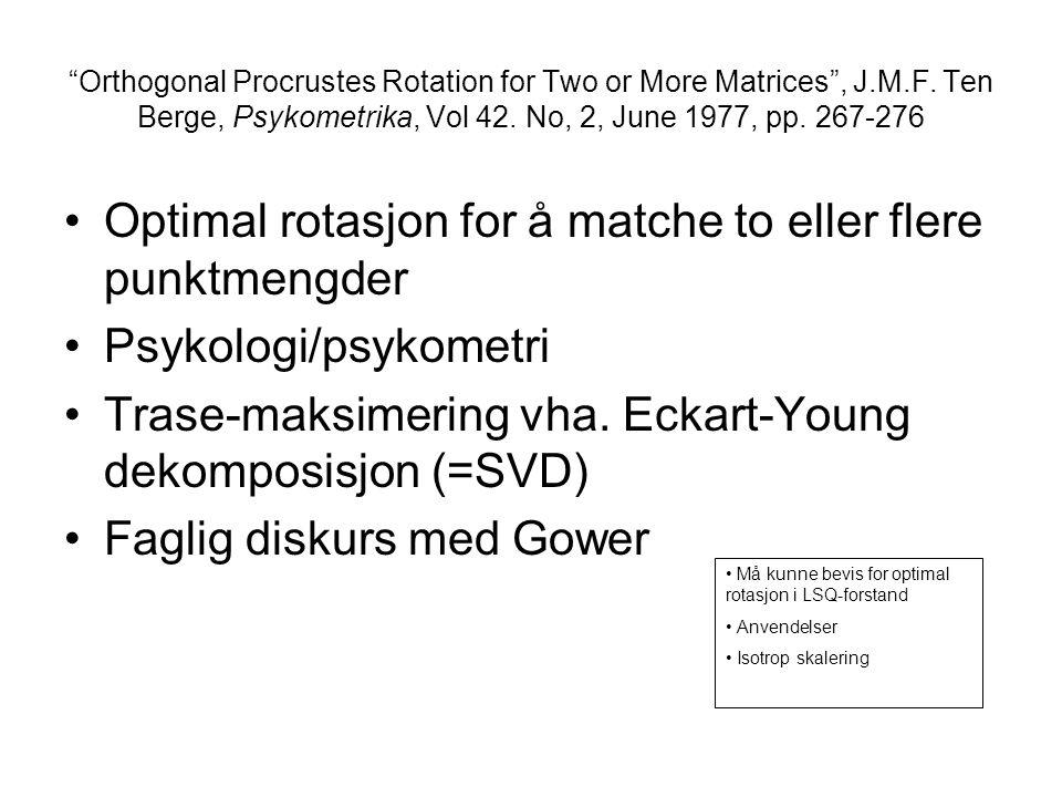 Optimal rotasjon for å matche to eller flere punktmengder
