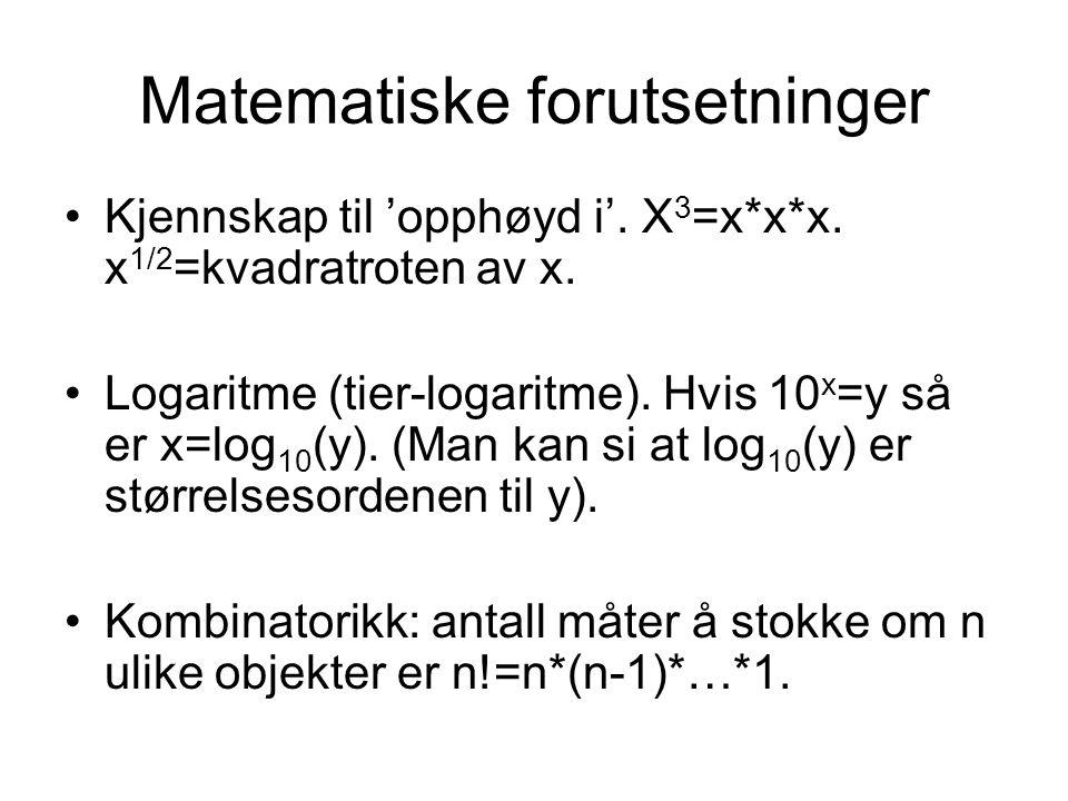 Matematiske forutsetninger
