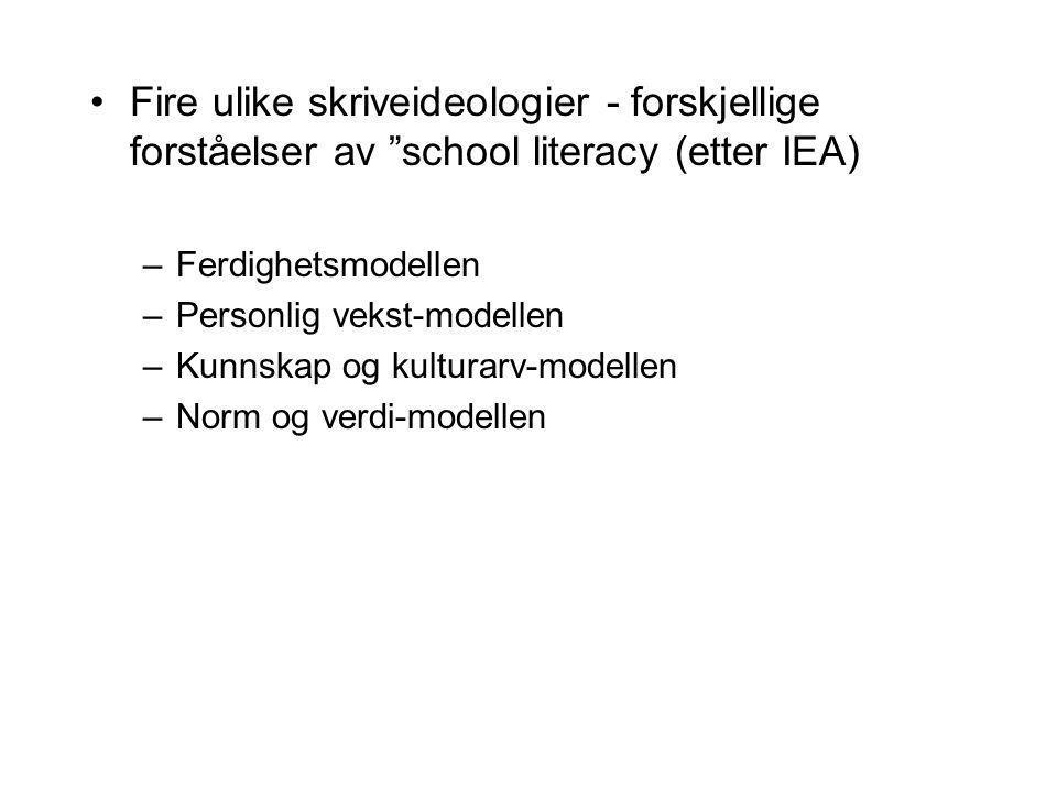 Fire ulike skriveideologier - forskjellige forståelser av school literacy (etter IEA)