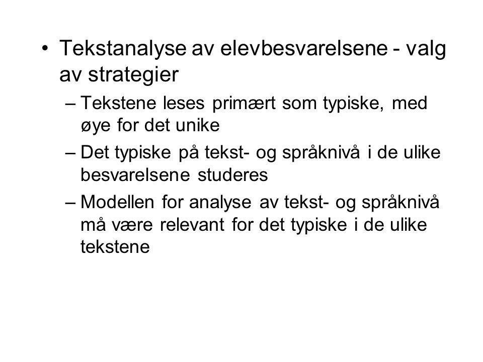 Tekstanalyse av elevbesvarelsene - valg av strategier