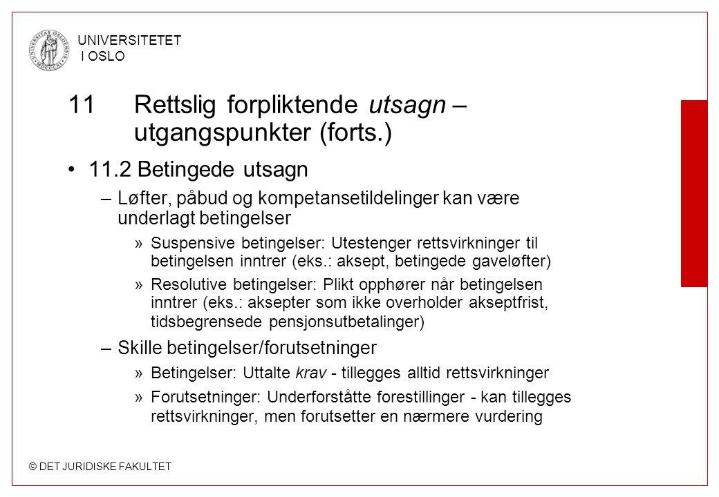 11 Rettslig forpliktende utsagn – utgangspunkter (forts.)