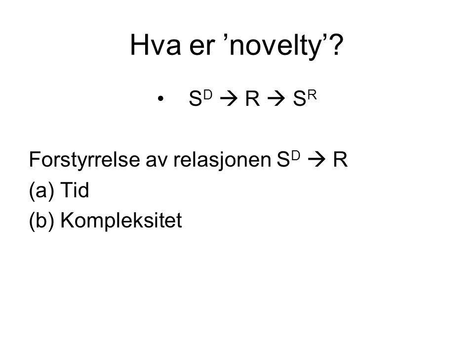 Hva er 'novelty' SD  R  SR Forstyrrelse av relasjonen SD  R Tid