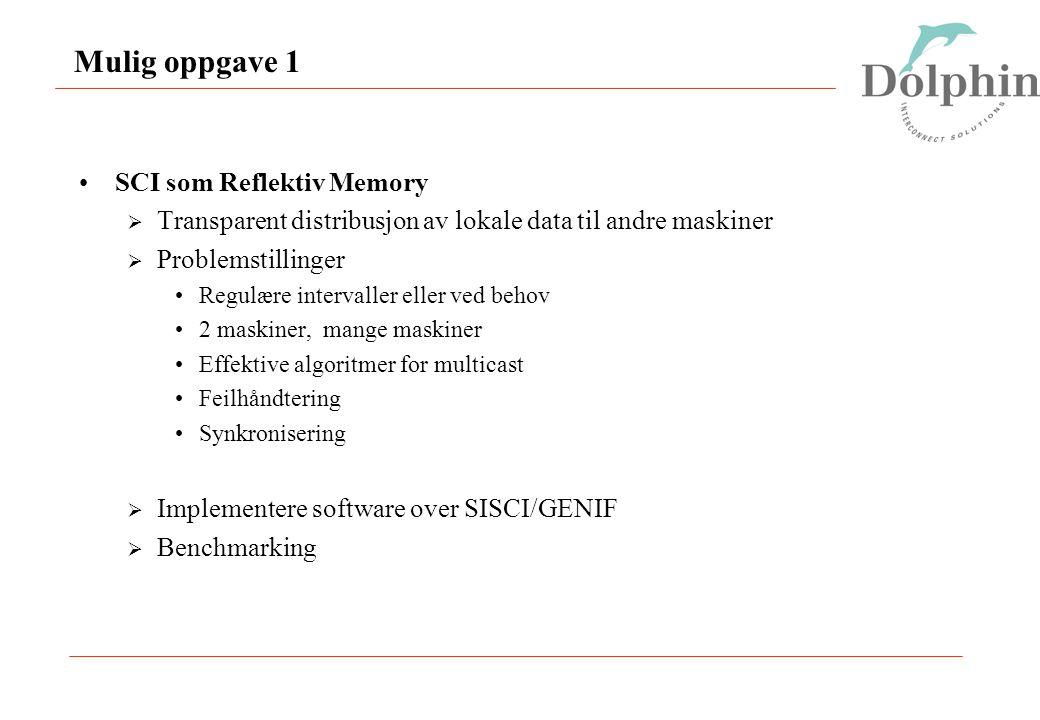Mulig oppgave 1 SCI som Reflektiv Memory