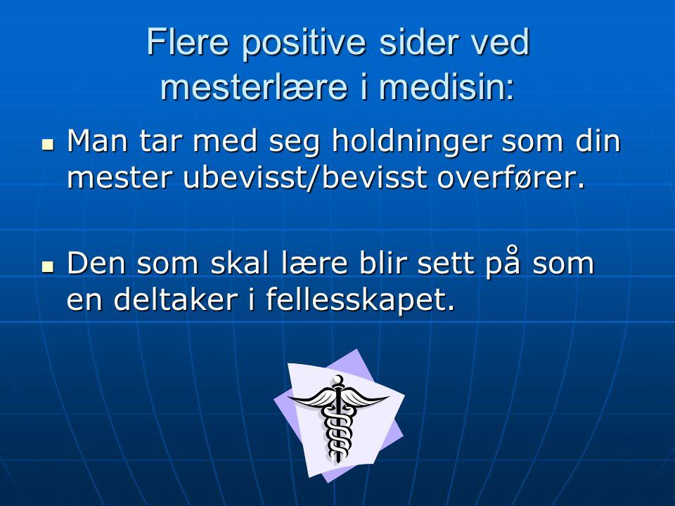 Flere positive sider ved mesterlære i medisin: