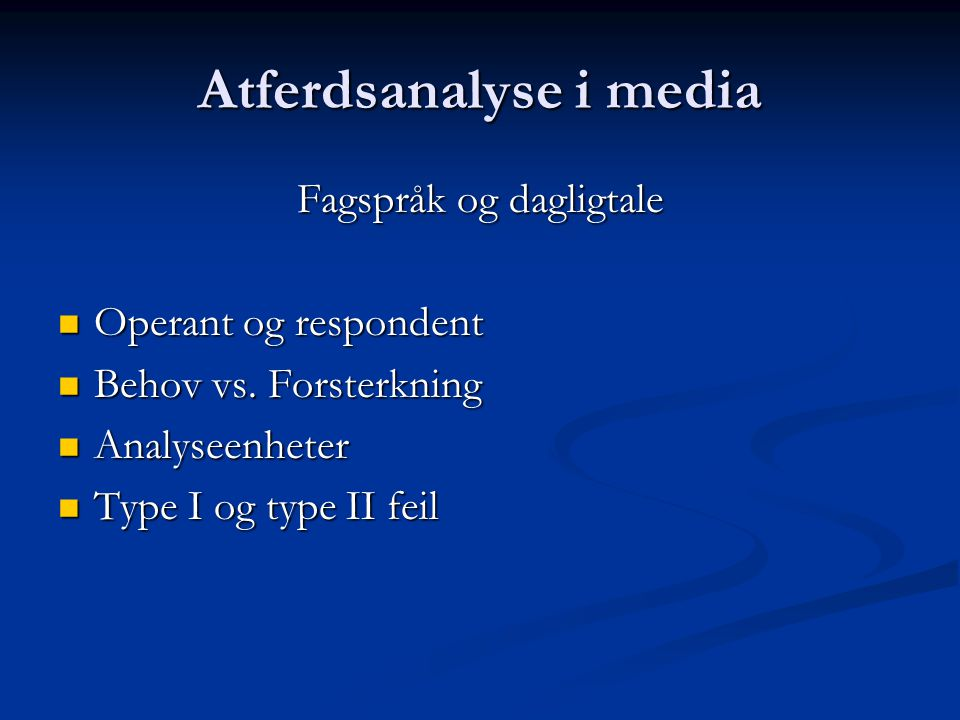 Atferdsanalyse i media