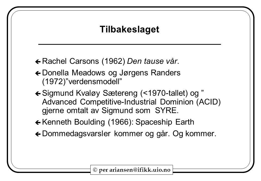 Tilbakeslaget Rachel Carsons (1962) Den tause vår.