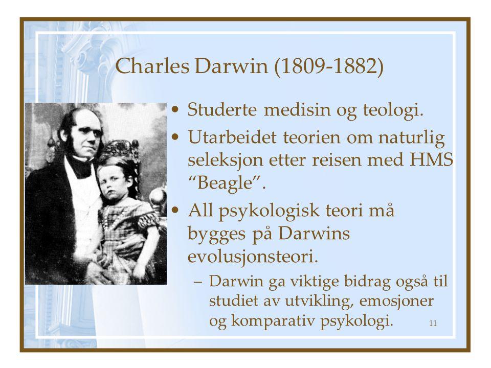 Charles Darwin (1809-1882) Studerte medisin og teologi.