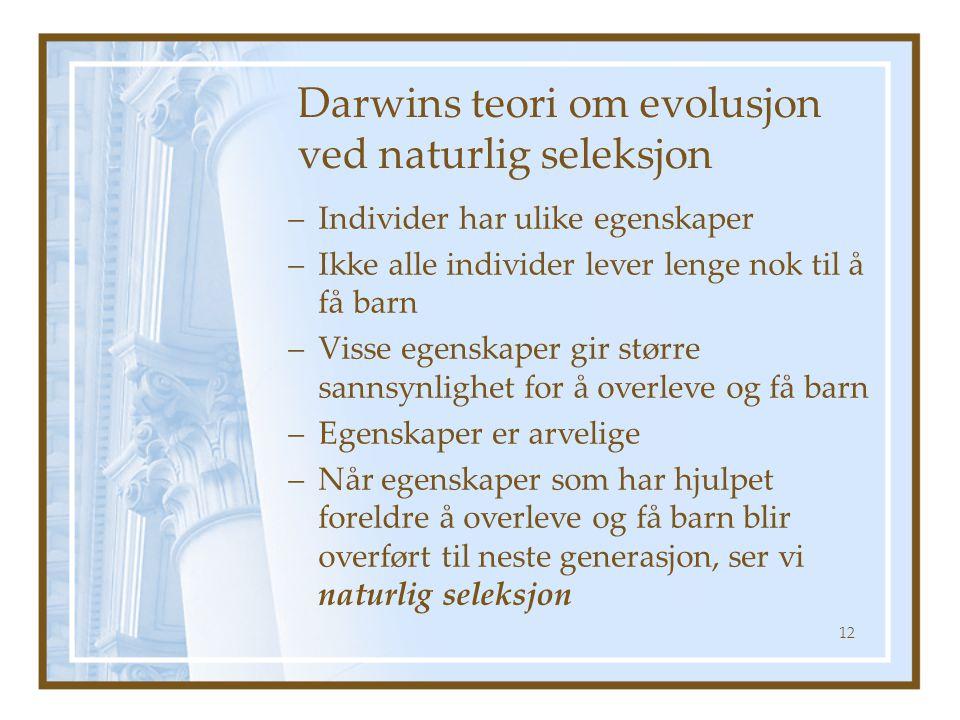 Darwins teori om evolusjon ved naturlig seleksjon