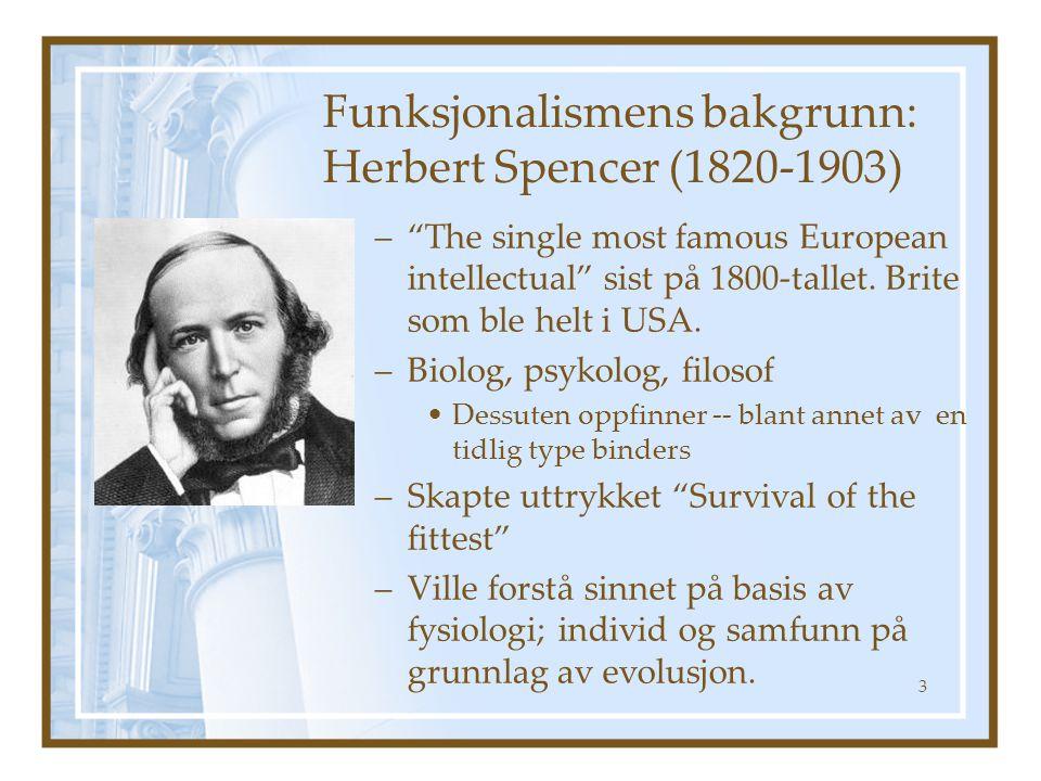Funksjonalismens bakgrunn: Herbert Spencer (1820-1903)