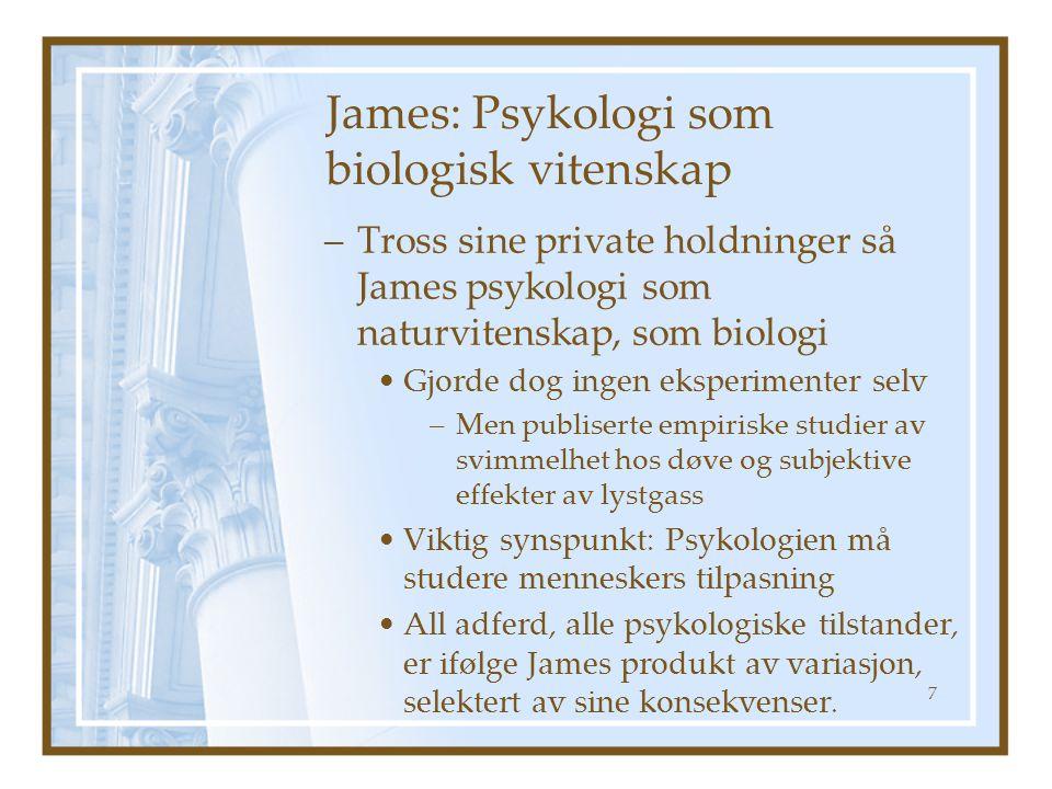 James: Psykologi som biologisk vitenskap