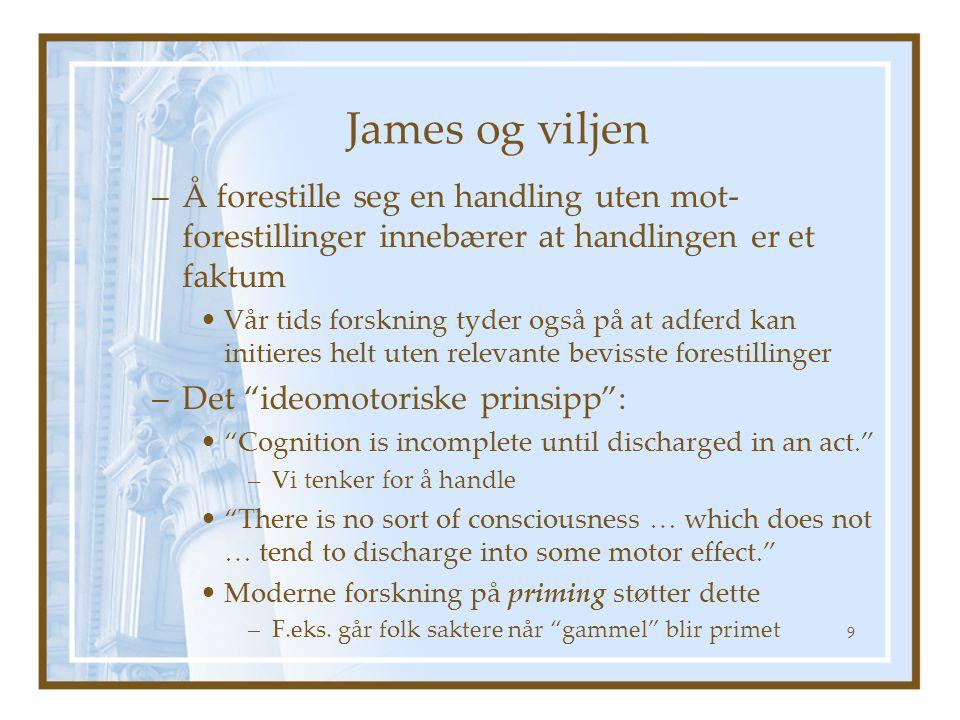 James og viljen Å forestille seg en handling uten mot-forestillinger innebærer at handlingen er et faktum.