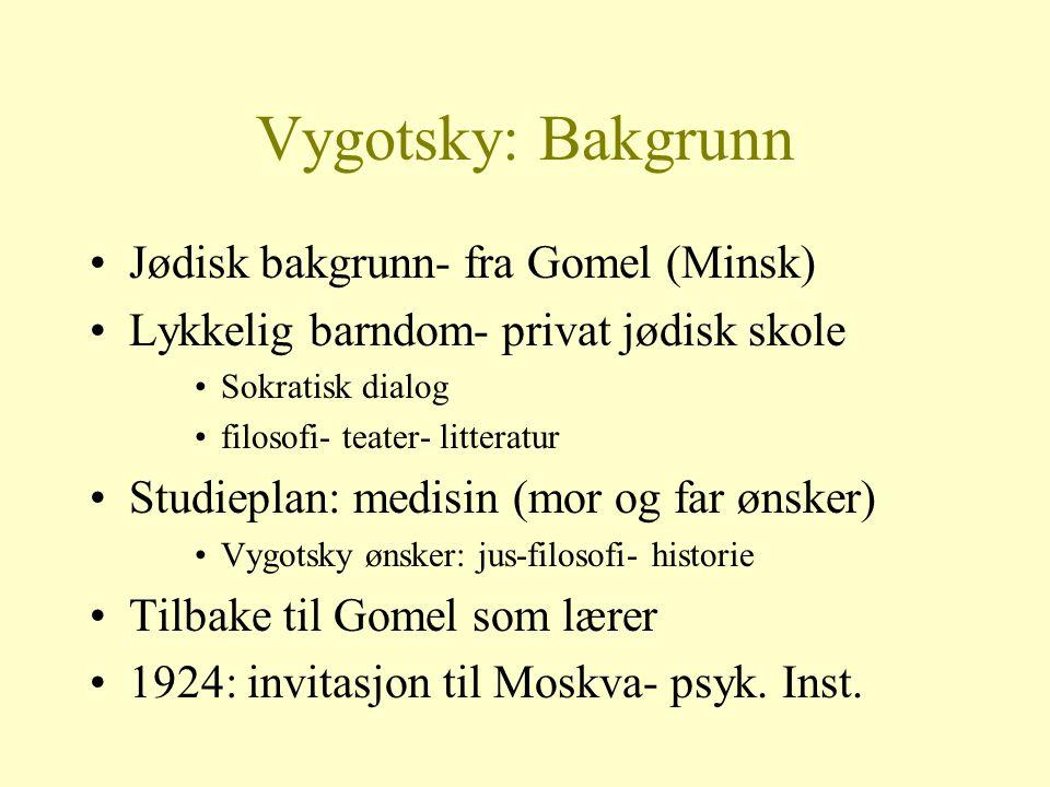 Vygotsky: Bakgrunn Jødisk bakgrunn- fra Gomel (Minsk)