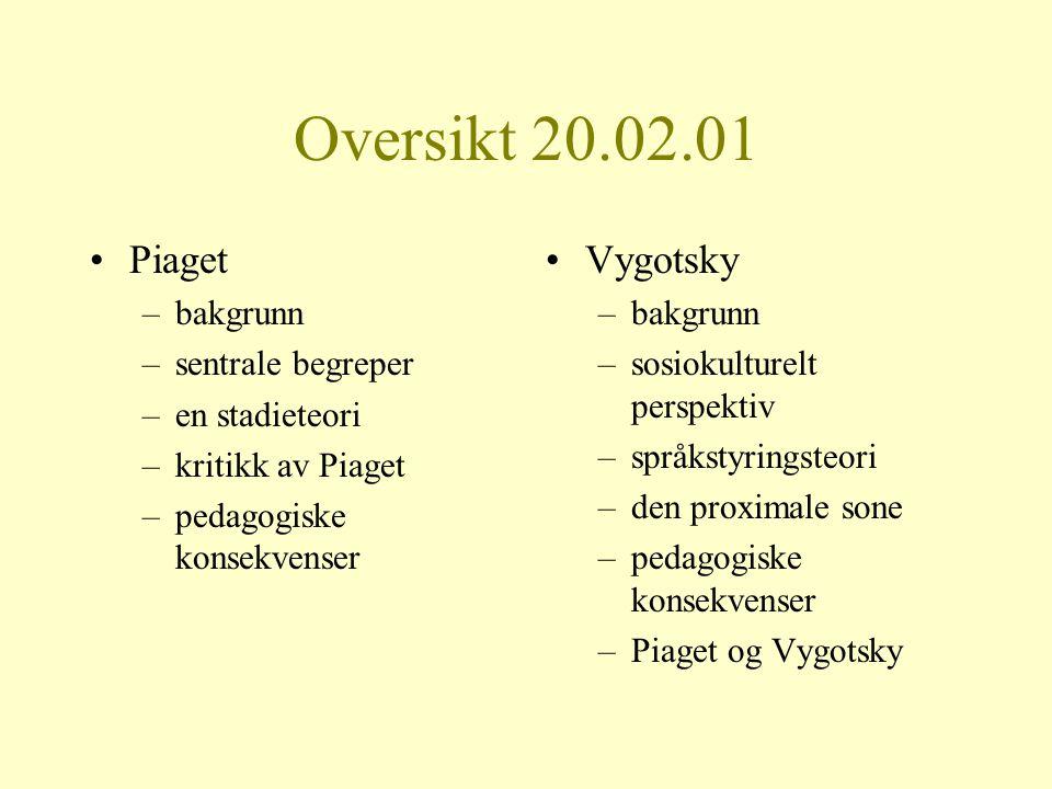 Oversikt 20.02.01 Piaget Vygotsky bakgrunn sentrale begreper