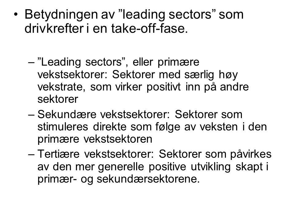 Betydningen av leading sectors som drivkrefter i en take-off-fase.