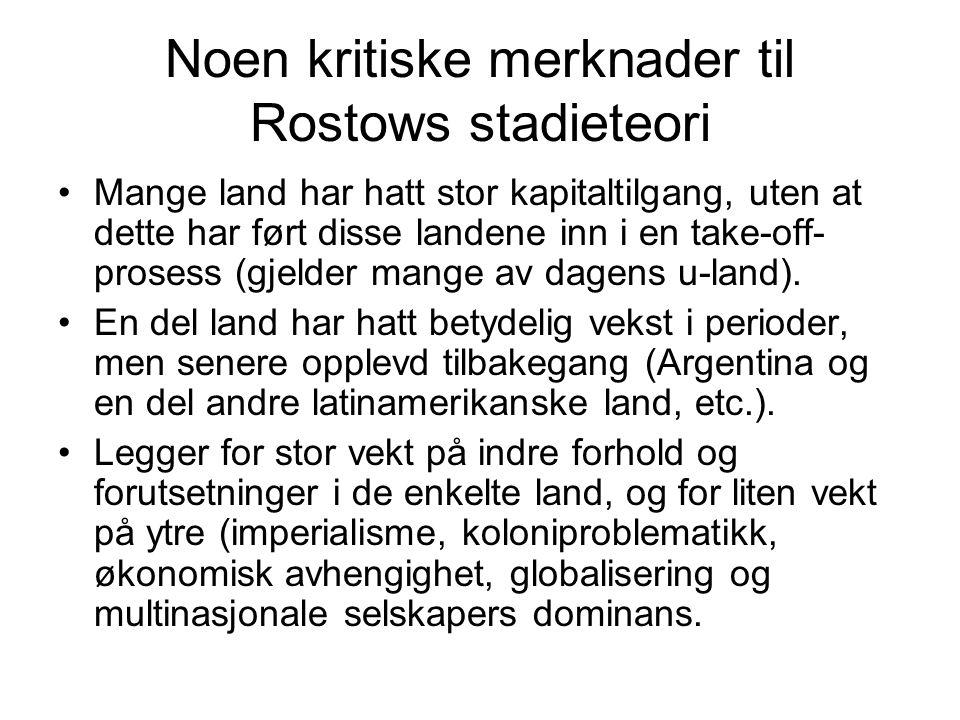 Noen kritiske merknader til Rostows stadieteori