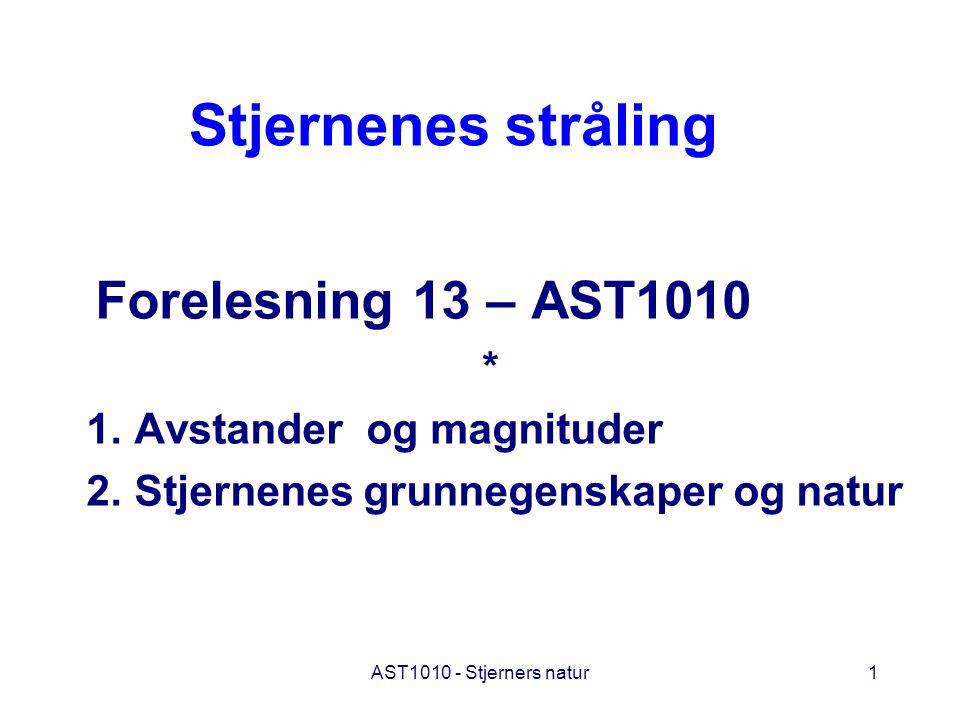 Stjernenes stråling Forelesning 13 – AST1010 *
