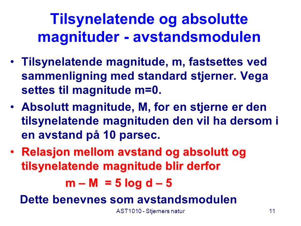 Tilsynelatende og absolutte magnituder - avstandsmodulen