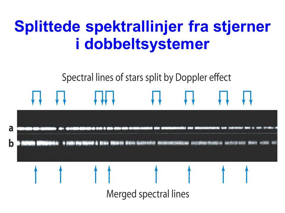 Splittede spektrallinjer fra stjerner i dobbeltsystemer