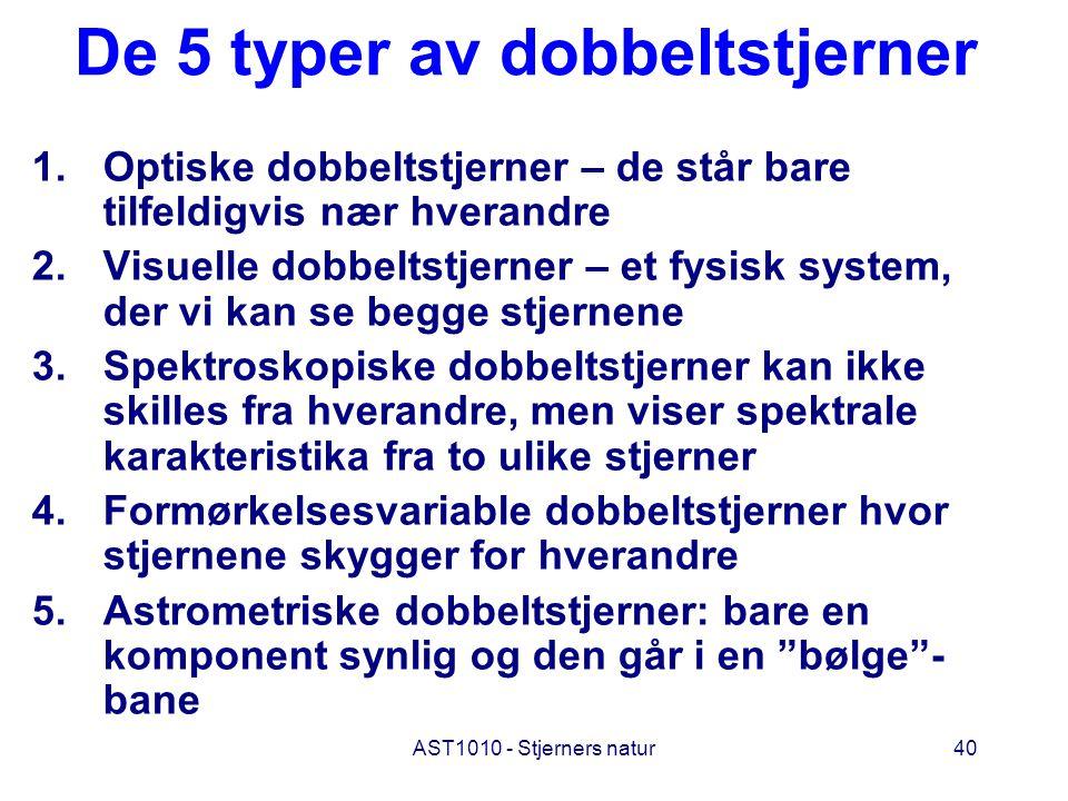 De 5 typer av dobbeltstjerner