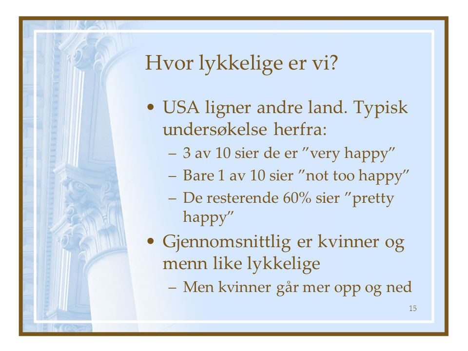 Hvor lykkelige er vi USA ligner andre land. Typisk undersøkelse herfra: 3 av 10 sier de er very happy