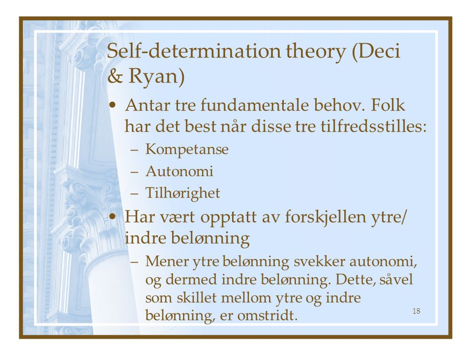 Self-determination theory (Deci & Ryan)