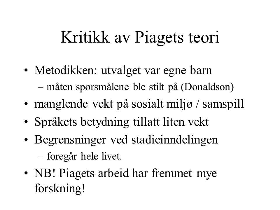 Kritikk av Piagets teori