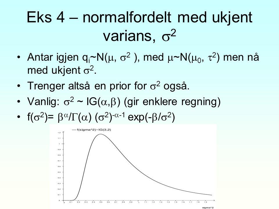 Eks 4 – normalfordelt med ukjent varians, 2