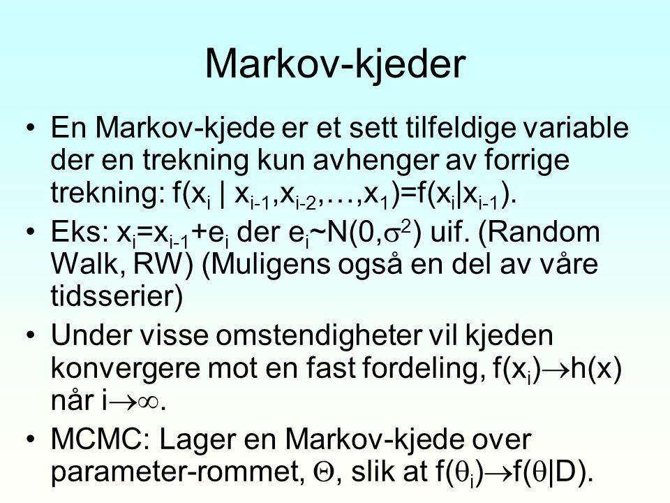 Markov-kjeder En Markov-kjede er et sett tilfeldige variable der en trekning kun avhenger av forrige trekning: f(xi | xi-1,xi-2,…,x1)=f(xi|xi-1).