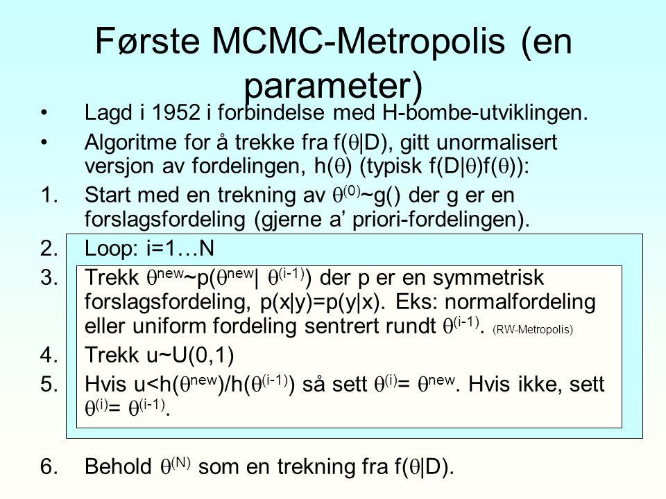 Første MCMC-Metropolis (en parameter)