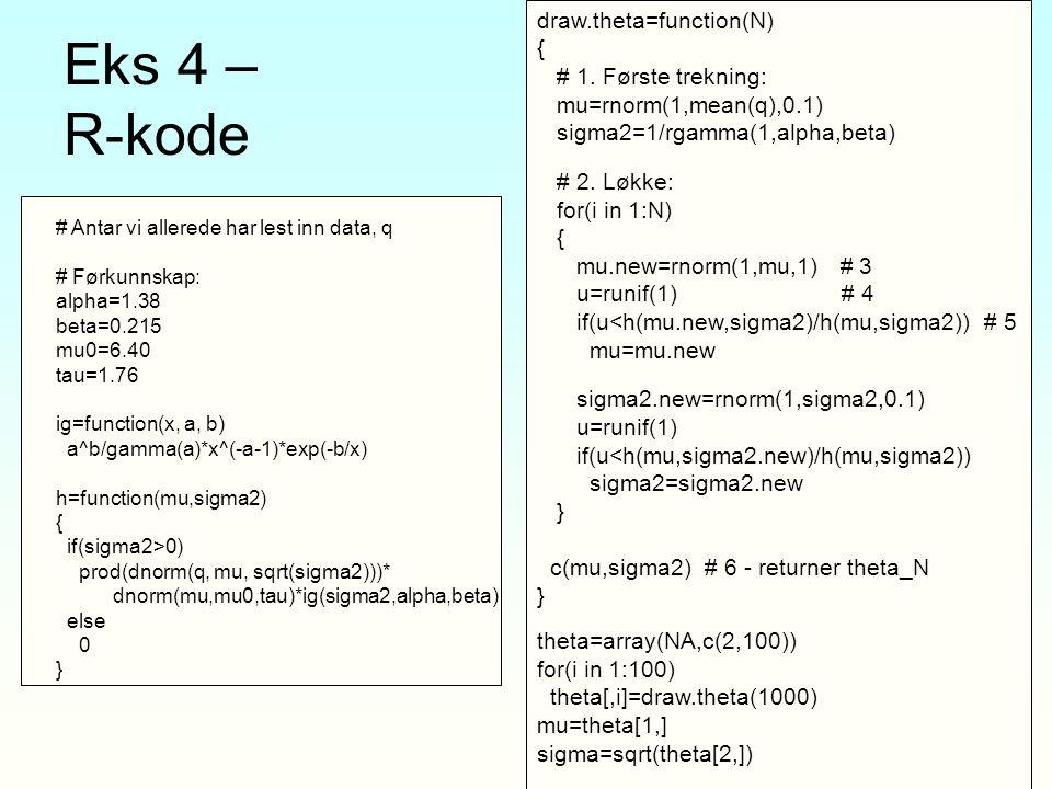 Eks 4 – R-kode draw.theta=function(N) { # 1. Første trekning: