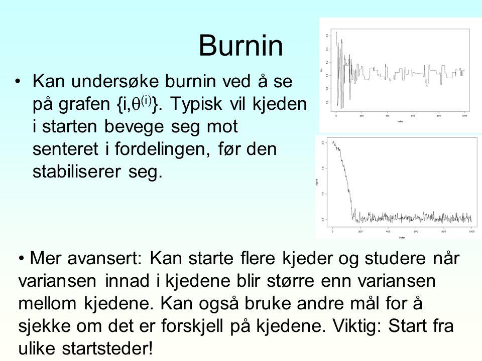 Burnin Kan undersøke burnin ved å se på grafen {i,(i)}. Typisk vil kjeden i starten bevege seg mot senteret i fordelingen, før den stabiliserer seg.