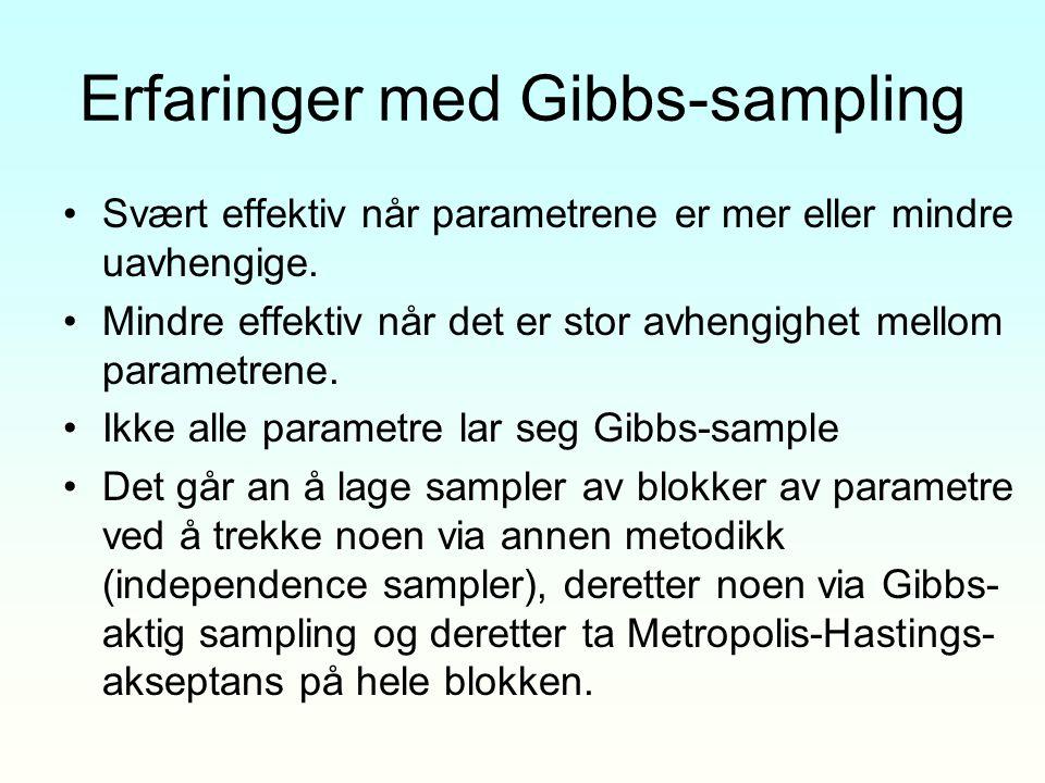 Erfaringer med Gibbs-sampling