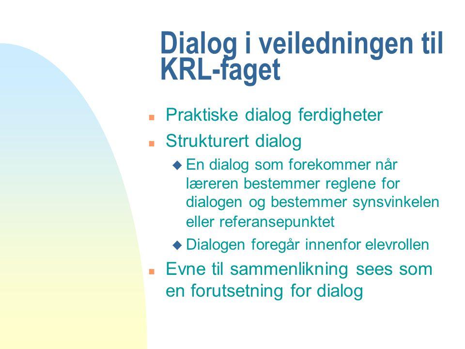 Dialog i veiledningen til KRL-faget