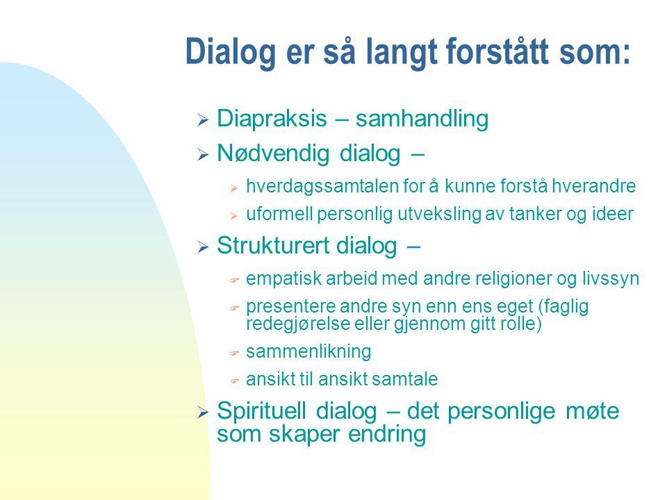 Dialog er så langt forstått som: