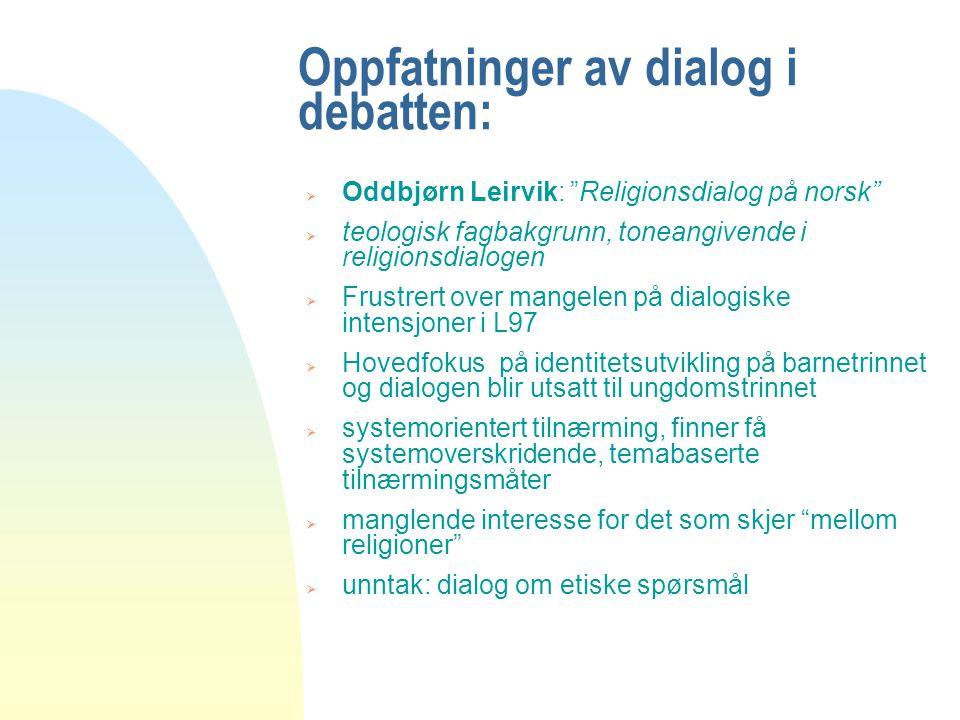 Oppfatninger av dialog i debatten: