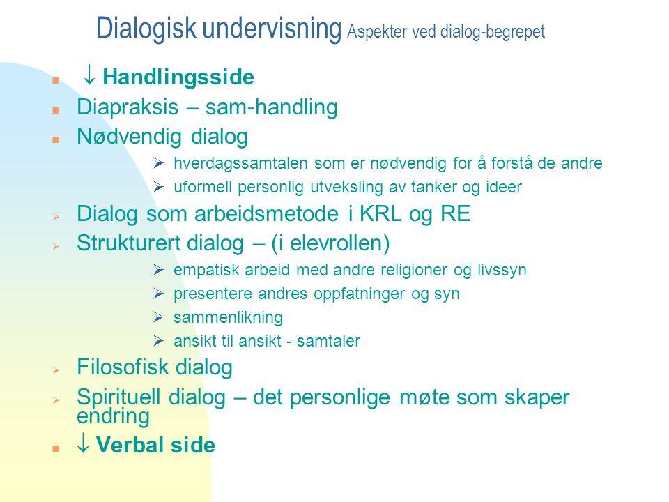 Dialogisk undervisning Aspekter ved dialog-begrepet